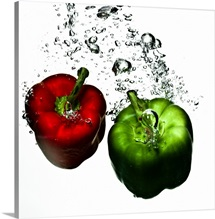 Peppers in splashing water