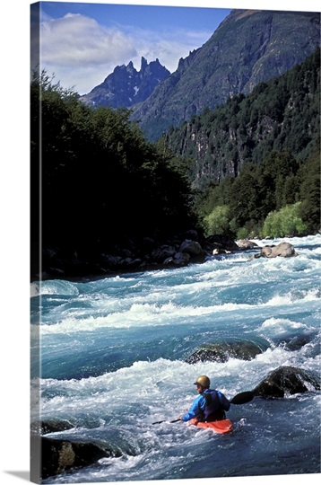 Person kayaking on Futaleufu River, Chile