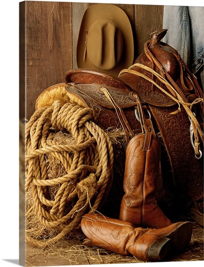 photo saddle rope boots and hat color photo canvas