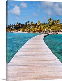 Pier to tropical island, Sainte Anne, Martinique, Caribbean, France.