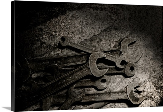 Pile of Rusty Spanners and Wrenches
