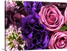 Pink roses, purple hydrangea, alliums