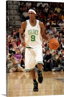 Rajon Rondo of the Boston Celtics moves the ball up court