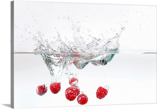 Raspberries in water