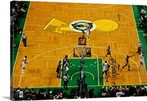 Ray Allen of the Boston Celtics shoots a jumper while taking on the Los Angeles Lakers