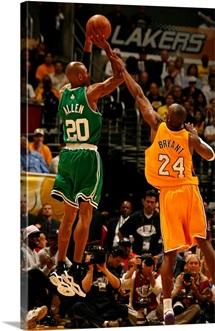 Ray Allen of the Boston Celtics shoots over Kobe Bryant