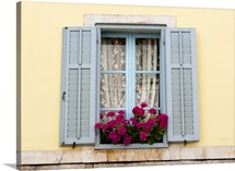 Red flowers in a window box, Croatia