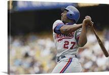 Right fielder Vladimir Guerrero of the Montreal Expos swings the bat during the MLB game