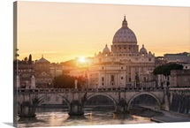 Rome, St. Peter's Basilica at Sunset