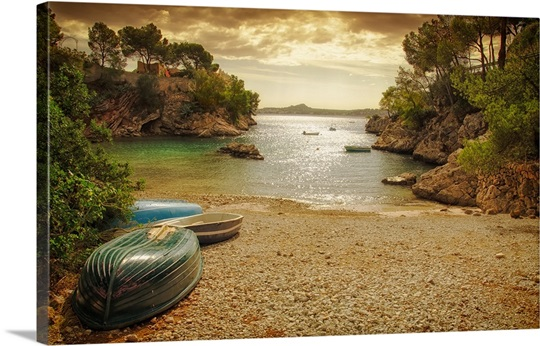 Rowing boats on beach, Mallorca.