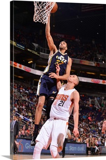 Rudy Gobert of the Utah Jazz shoots the ball against the Phoenix Suns