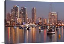 San Diego Skyline and Harbour at Dusk