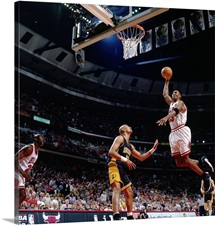 Scottie Pippen of the Chicago Bulls goes up for a slam dunk against the Indiana Pacers