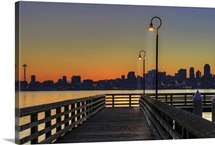 Seacrest Park Fishing Pier in Alki Beach during sunrise, Washington