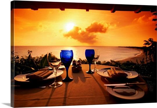 Set table, Long Bay, St. Martin