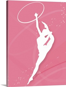Silhouette of a female gymnast performing with a plastic hoop