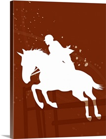 Silhouette of a man riding a horse jumping over hurdles