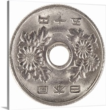 Silver Asian Coin With Picture Of Flowers