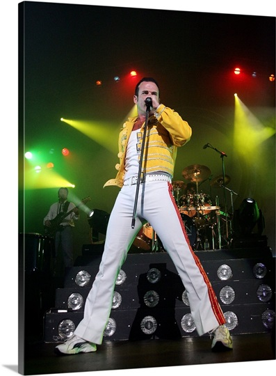 Singer Craig Pesco, as Freddie Mercury, performs during the QUEEN tribute