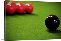 Snooker balls on the table.