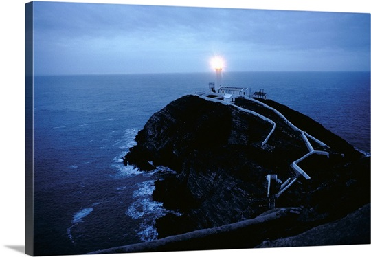 South stack lighthouse at night, South stack, Gwynedd, Wales.