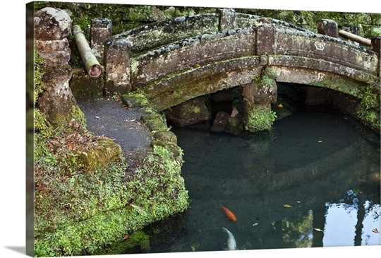 Stone bridge over koi pond photo canvas print great big for Koi pond bridge