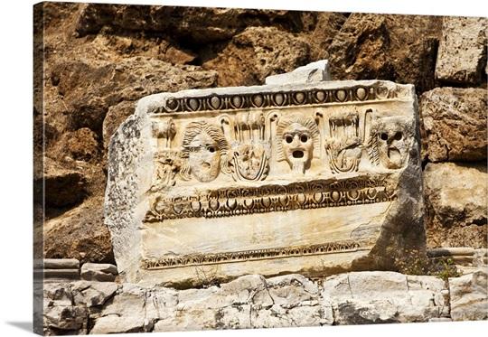 Stone carving detail roman amphitheatre turkey photo