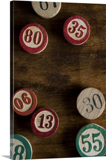 Studio shot of buttons with numbers
