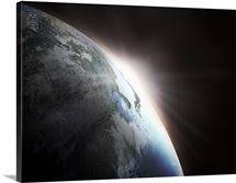 Sunlight behind the earth, computer graphic, black background