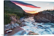 Sunrise overlooking Swiftcurrent Creek at Many Glacier area of Glacier National Park.