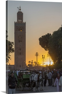 Sunset behind Koutoubia Mosque, Marrakesh, Morocco