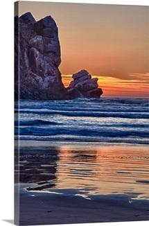 Sunset behind Pillar rock