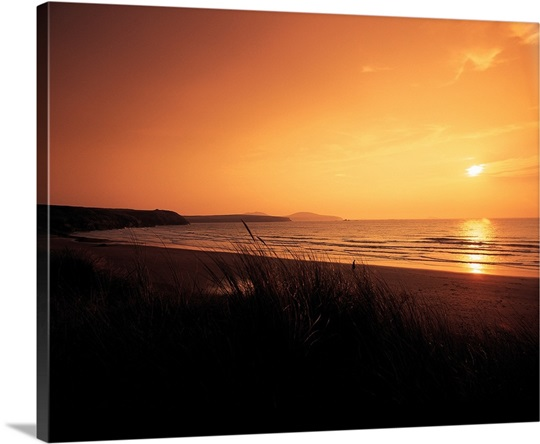 Sunset on Pembroke coast, Whitesands bay, Dyfed, Wales.