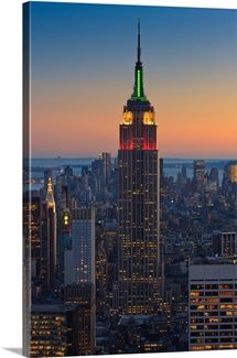Sunset view from Top of the Rock, Rockefeller Plaza to the Empire State Building, NYC