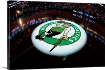 The Boston Celtics logo is displayed at center court
