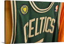 "The ""Boston Stands as One"" patch on the jersey of Kevin Garnett of the Boston Celtics"