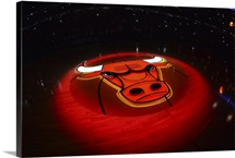 The Chicago Bulls logo is illuminated during the introductions for Game Three