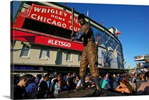 The Ernie Banks statue in front of Wrigley Field, home of the Cubs, in Chicago, Illinois