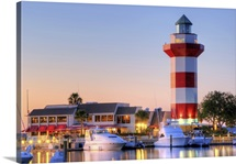 The famous Harbour Town Lighthouse at dusk on Hilton Head Island, South Carolina.