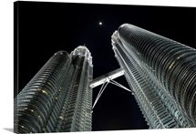 The famous Petronas Twin Towers at night, Kuala Lumpur, Malaysia