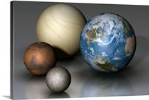 The four terrestrial planets compared in scale