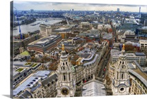 The skyline of central London viewed from St Pauls Cathedral London UK.