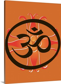 The symbol for Om on an orange background