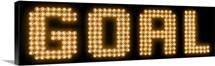 "The word ""Goal"" in illuminated lights"