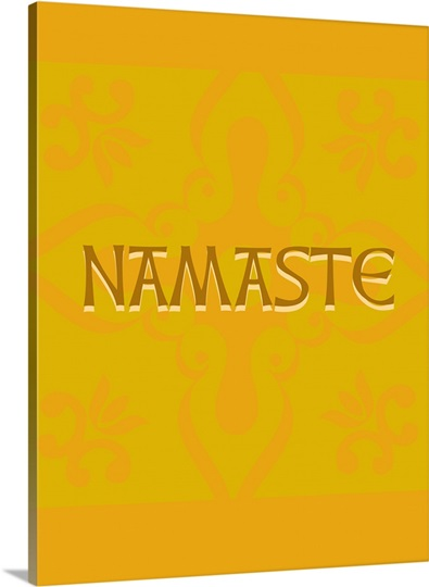 The word Namaste on a orange and yellow decorative background