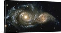 These two spiral galaxies were seen near the constellation Canis Major.