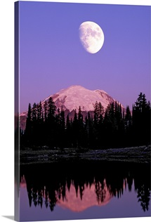 Tipsoo Lake and full moon at Mount Rainier National Park, Washington