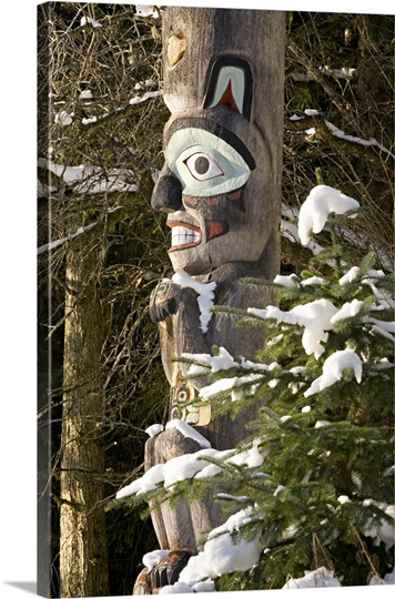 Tlingit Indian totem pole depicting brown bear crest, Auke Tribe, Alaska.