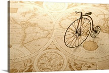 Toy bicycle and map