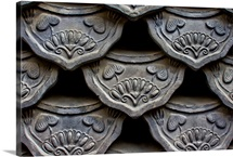 Traditional style Korean roof tiles in Insadong, Seoul, Korea.
